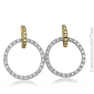 14K-White-Gold-amp-Yellow-Gold-Two-Tone-Diamond-Hoop-Earrings-1900-75-Carats
