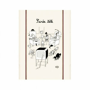 Torchons-amp-Bouchons-French-Cute-Cats-Chats-DUBOUT-Art-Kitchen-Towel-Soiree-TV