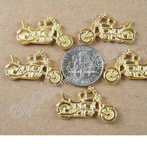 25pcs gold tone Motorcycle pendant charm h3977