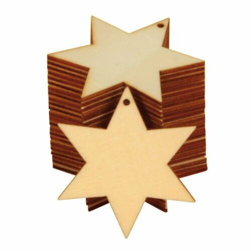 Suave noche remolque estrellas de madera 24 weihnachtsbaumschmuck para pintar nuevo