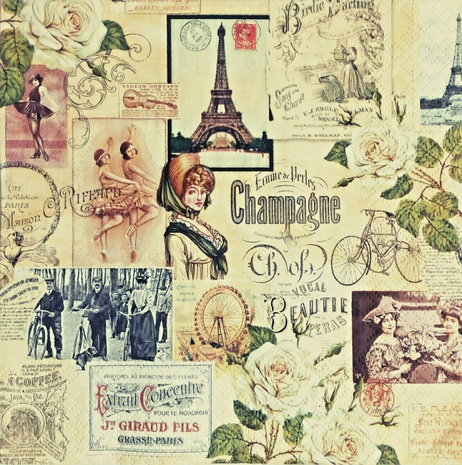 Paper Napkins,4 for Decoupage, Vintage.Servilletas de papel decoupage