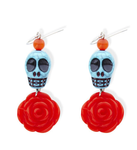 AZURE SKULL /& RED ROSE EARRINGS JEWELLERY HALLOWEEN MEXICAN DAY OF THE DEAD