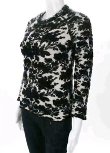 Tory-Burch-White-Black-Abstract-Knit-Crew-Neck-Sweater-Sz-Extra-Small