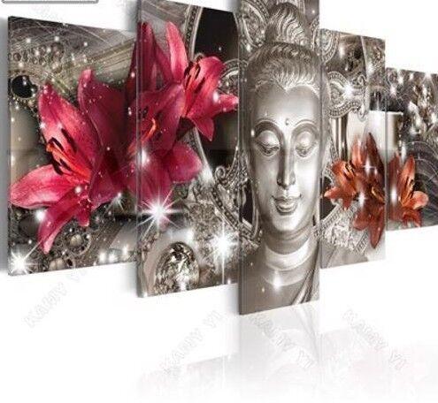 Multi-imagen Daimond Pintura Buda Lirio 5D Art Pedrería kits de punto de mosaico