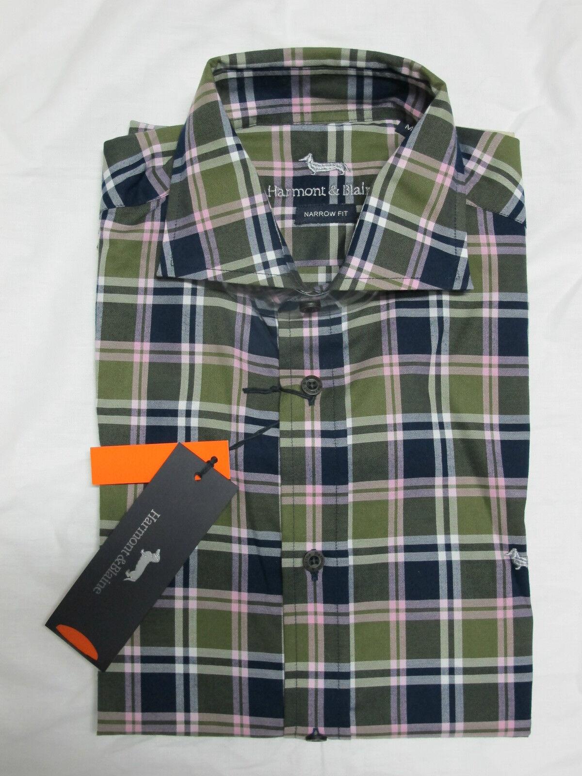HARMONT&BLAINE men's shirts mod.CX007 quadro co.blueE GREENFINCH PINK size L