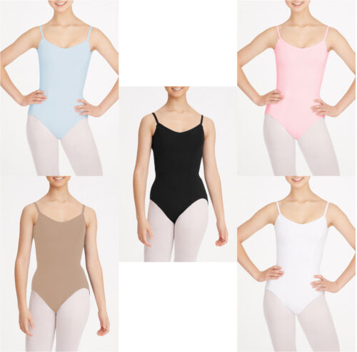 Girls Kid Ballet Dancewear Gym Strap Leotard Bodysuit Black Blue Pink Tan White