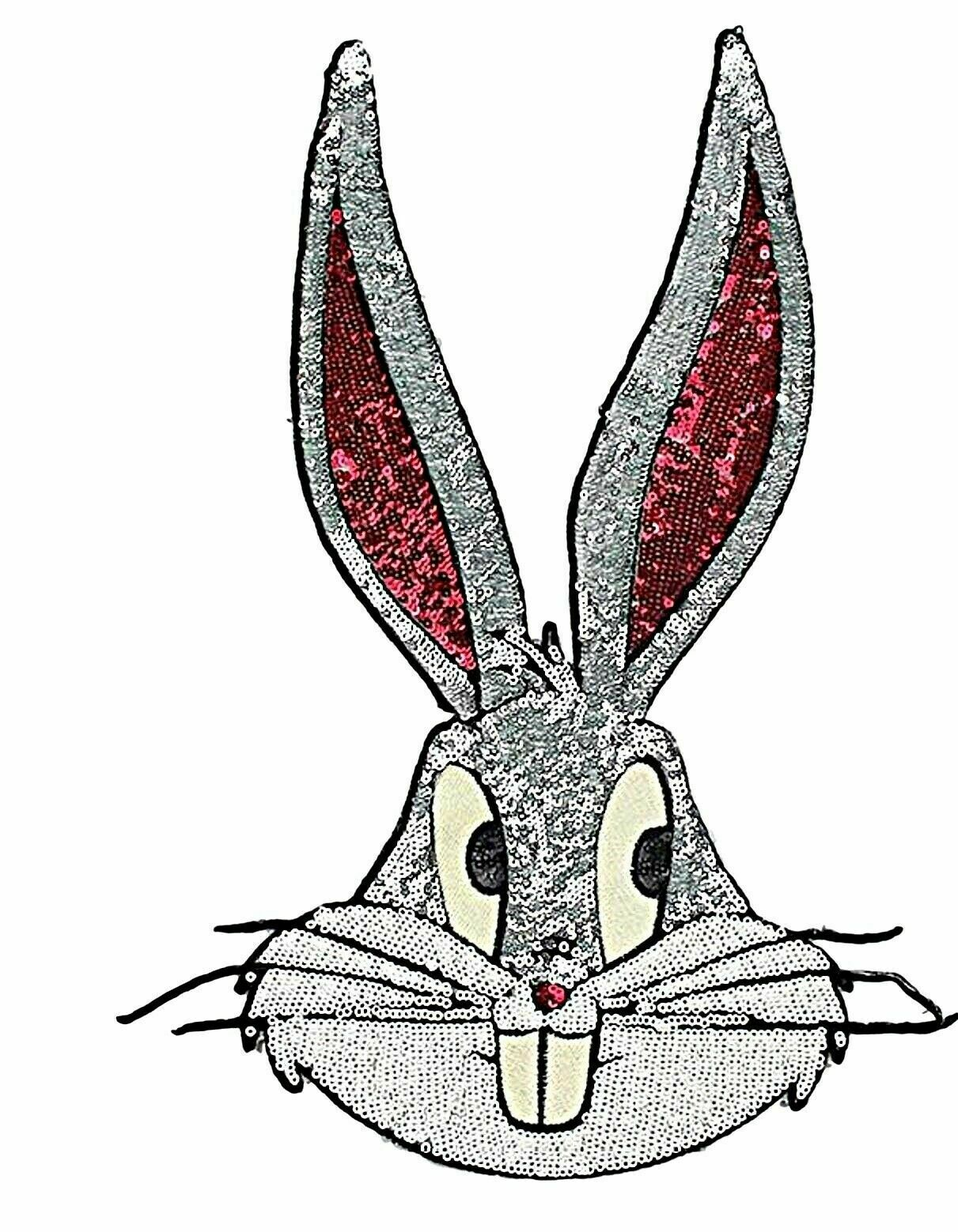 """Looney Tunes Bugs Bunny Sequins Large 14/"""" Tall Iron on Jacket Patch"""