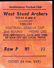 1980/81 SOUTHAMPTON V WATFORD 26-08-1980 League Cup 2nd Round Match Ticket