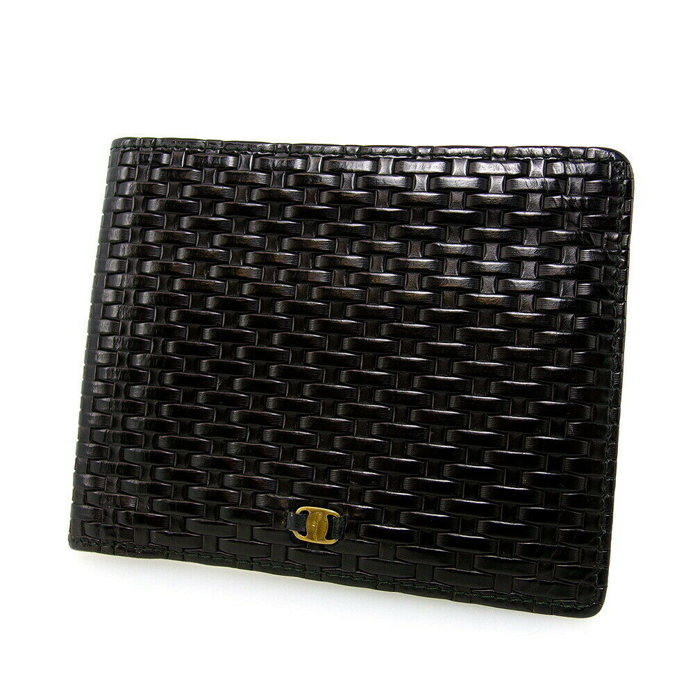 Leather Braid wallet Salvatore Ferragamo clamshell used Auth G1522