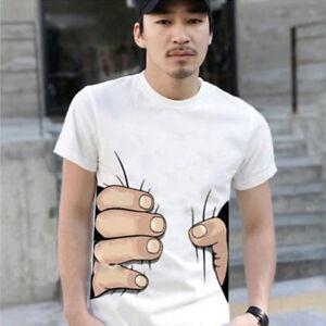 HOT-NEW-Men-039-s-Fashion-3D-Printed-T-shirt-Big-Hand-Funny-Sleeve-Short-Tee-Shirt