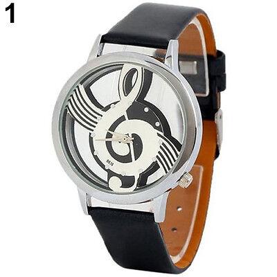 Women Men Unisex Music Note Notation Dial Faux Leather Strap Quartz Wrist Watch