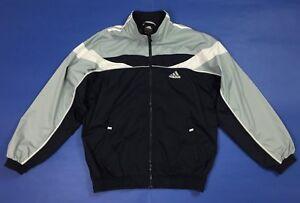 Adidas-felpa-tuta-usato-I5-M-uomo-blu-grigio-giacca-antivento-jacket-sport-T3864