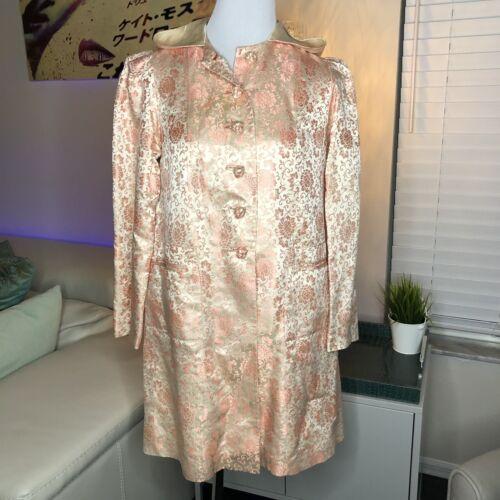 Vintage Silk Brocade Coat Pink S Handmade Hooded P