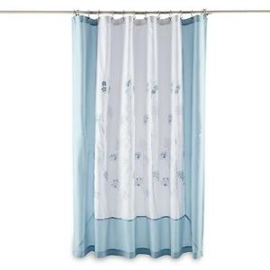 Image Is Loading Essential Home Delia Blue Embroidered Fabric Shower Curtain