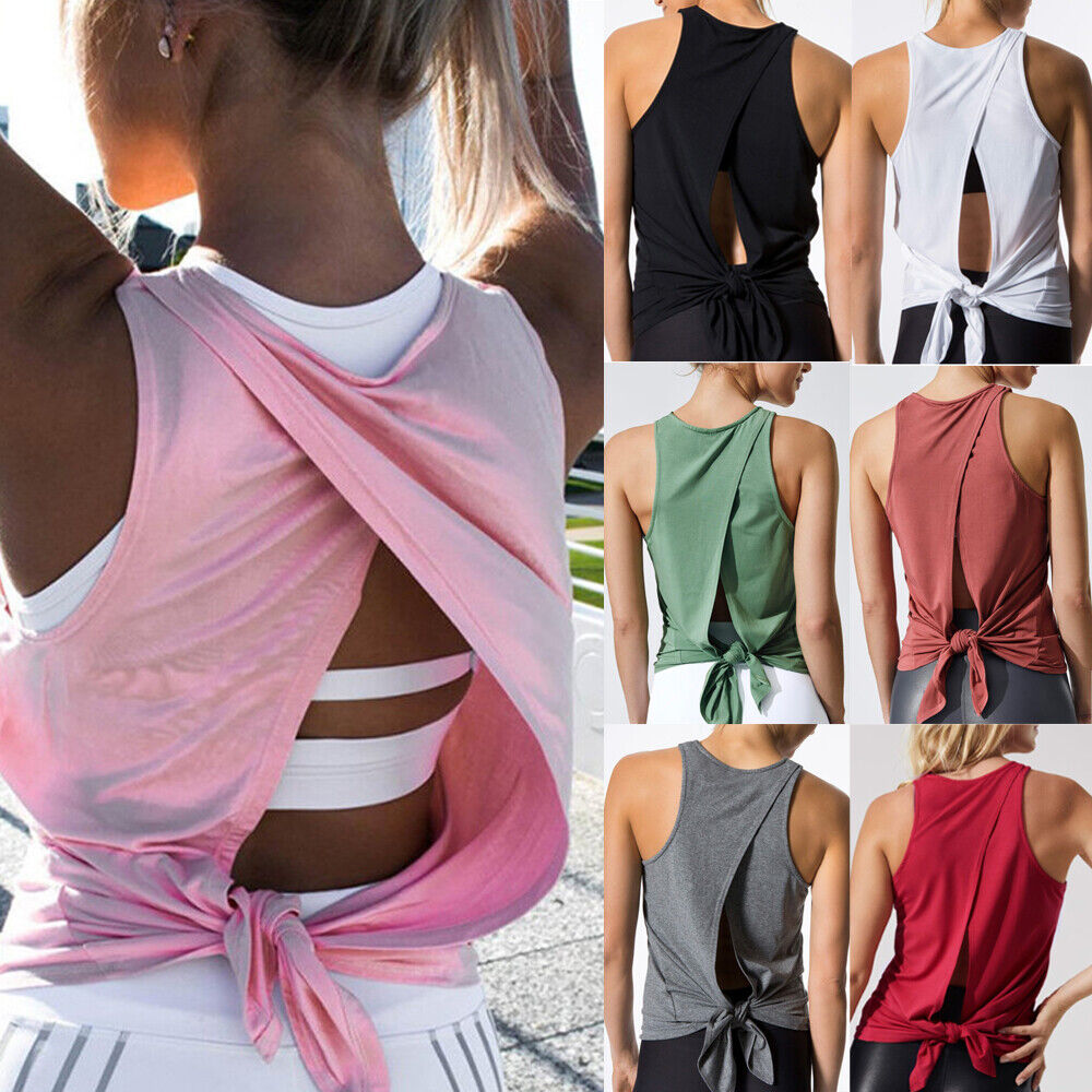 Women Sexy Yoga Camisoles T-Shirts Workout Open Back Tank Vest Tops Sports Shirt