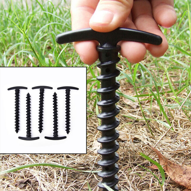 5X Plastic Screw Spiral Tent Peg Stakes Nail Outdoor Camping Awning Trip Kit VO