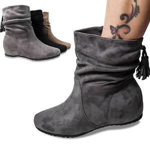ba60cbb7e7dc09 Das Bild wird geladen Damen-Stiefel-Keilabsatz-gefuettert-Stiefeletten-Boots -Wedge-neu-