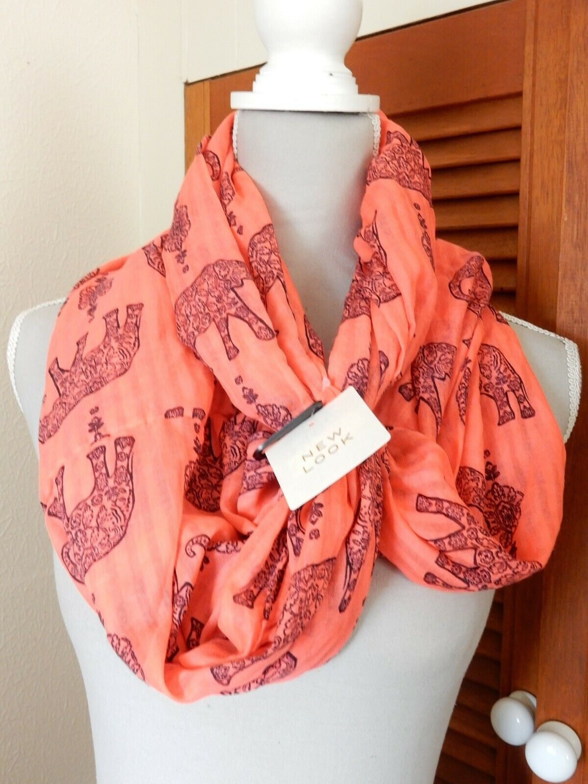 New Look Animal Elephant Snood Coral Pink New With Tags Holiday Thailand