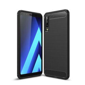 SDTEK-Samsung-Galaxy-A7-2018-Case-Carbon-Fibre-TPU-Case-Silicone-Phone-Cover