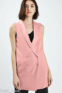 13c5ceaaab5769 Image is loading Topshop-Longline-Sleeveless-Blazer-Jacket-Dress-in-Dusky-