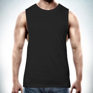 Muscle-Tank-Top-Singlet-T-shirt-PLAIN-BLANK-Raw-Edge-DEEP-Cut-Gym-Tee-Cotton-N
