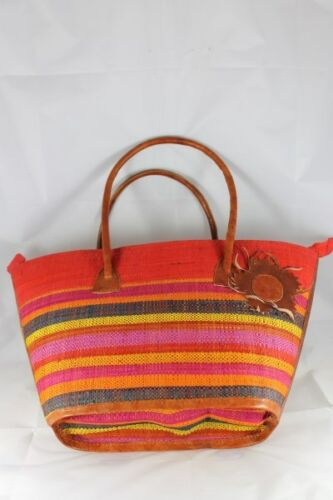 Gorgeous African Hand Crafted Raffia Leather Handbag Shopper Tote FREE Postage