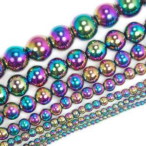 Natural-Rainbow-Hematite-Gemstone-Round-Beads-16-034-2mm-3mm-4mm-6mm-8mm-10mm-12mm
