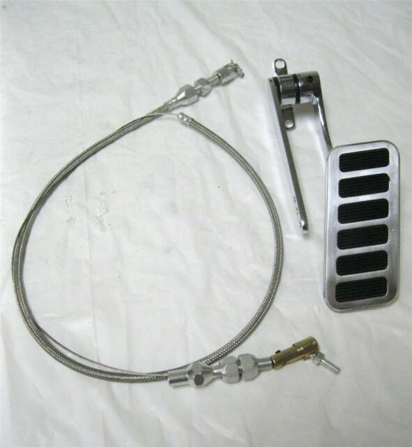 """1930's 40's Ford Chevy Plymouth Street Rod Large Aluminum Gas Pedal w/ 24"""" Cable"""