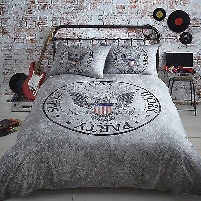 LEGEND AMERICAN EAGLE ROCK & ROLL DUVET QUILT COVER BEDDING BED SET BLACK & GREY