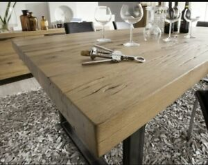 Tavolo Stile Industriale : Tavolo in rovere massello 6 cm gambe in ferro 180x80 stile
