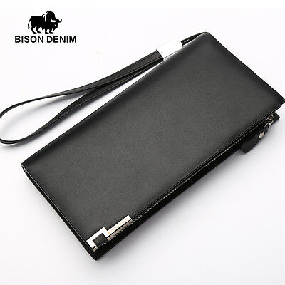 Men Genuine Leather Long Wallet New Cowhide Money Purse Bifold Card Holder