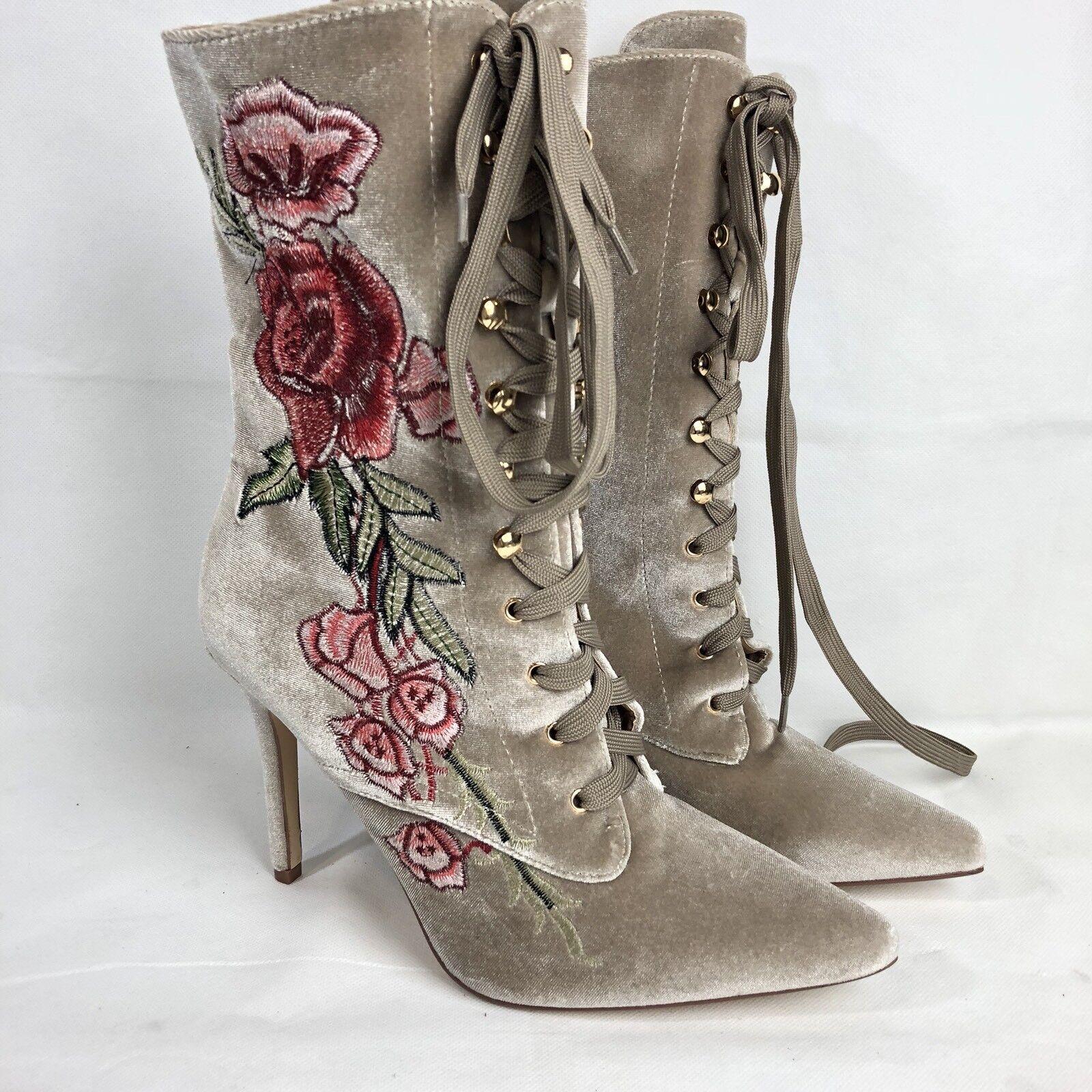 b098579e381cf Cape Robbin Mini 108 Women's Embroidered Lace Up Boot Size 10 Nude ...