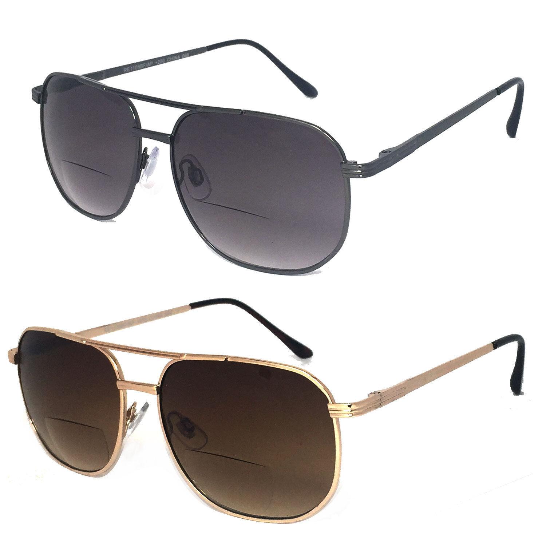 Aviator Bifocal Sun Reader Reading Sunglasses Metal Frame ...