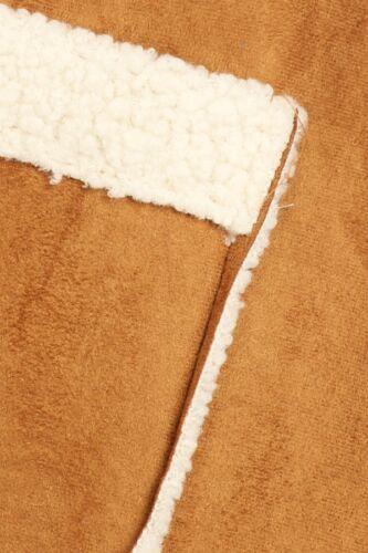 Ellie /& Kate Women/'s Camel Brown Olive Faux Suede Sherpa Lined Vest S M L XL