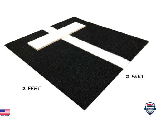 2 x 3 Softball Baseball Pitching Rubber Mat Training Indoor Outdoor Black Mound