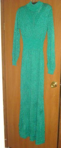 Vintage Wenjilli Green Metallic Knit Sweater Dress