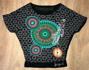Desigual-Donna-Nero-Colorato-Manica-Corta-T-Shirt-Top-Taglia-S