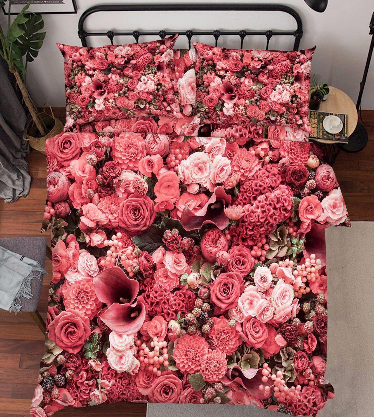 3D Blumengarten 59 Bett Kissenbezüge steppen Duvet Decken Set Single DE Carly