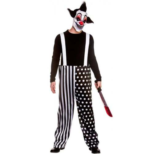 Mask NEW Adult SINISTER CLOWN Scary Horror Halloween Evil Circus Mens Trouser