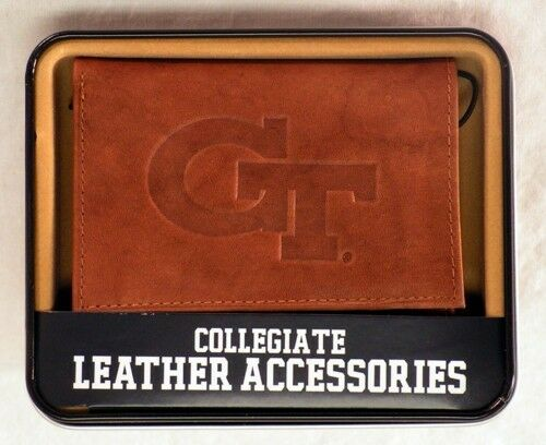 Georgia Tech Yellow Jackets Embossed Leather Trifold Wallet NEW in Gift Tin