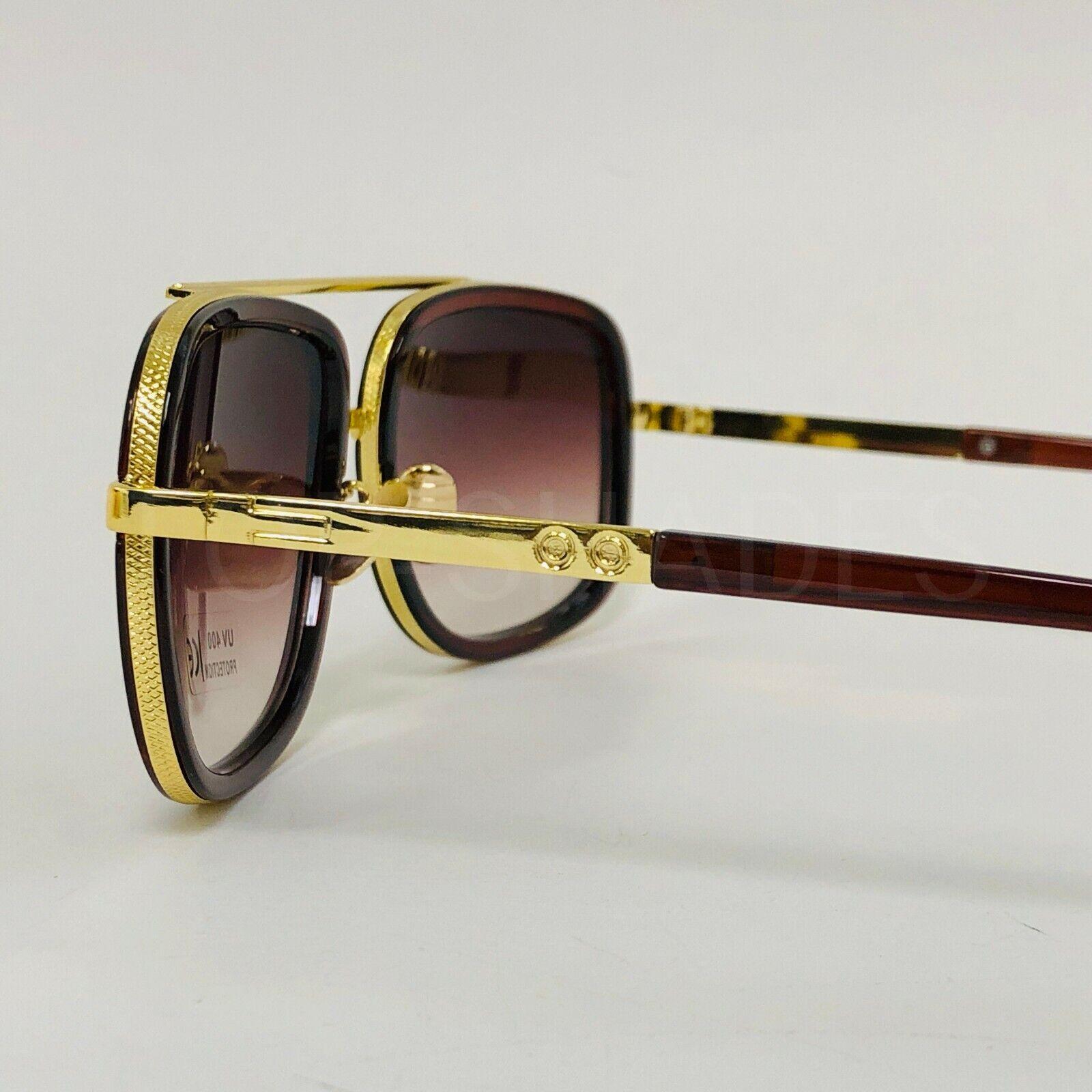 Large ZZ FLAT Top Square Rectangular Super DARK Lens Aviator Sunglasses 9809 L