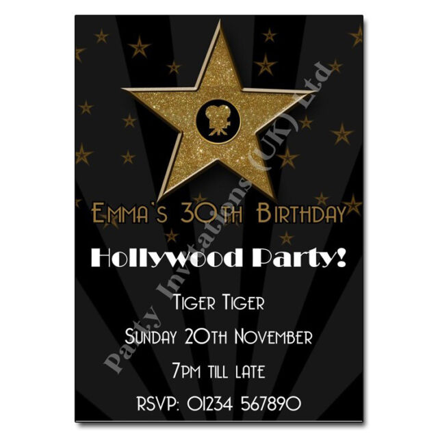 Hollywood Themed Personalised Birthday Party Invitations