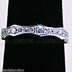 BRILLIANT-CLEAR-CZ-ETERNITY-WEDDING-BAND-OR-STACK-RING-SZ-10-NF-SILVER