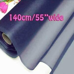 2 Yards Deep Ultramarine Pure Silk Organza Bridal Dress Fabric 140cm Tulle Voile