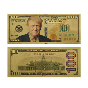 10-X-President-Donald-Trump-Colorized-100-Dollar-Bill-Gold-Foil-Banknote-US-EN