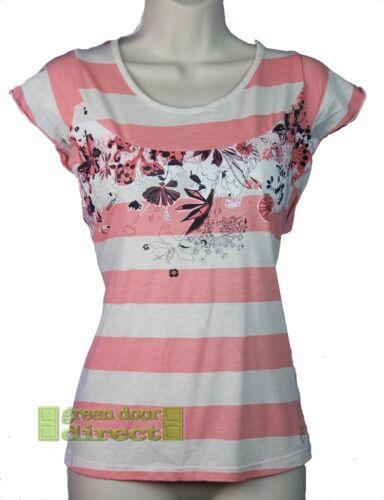 Hooch Womens Pink White Black Slouch T Shirt Top 10 Small 12 Medium Free UK Ship