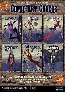 Harley-Quinn-Supergirl-Deadpool-Spidergirl-Batgirl-6-Comic-A3-Art-Prints