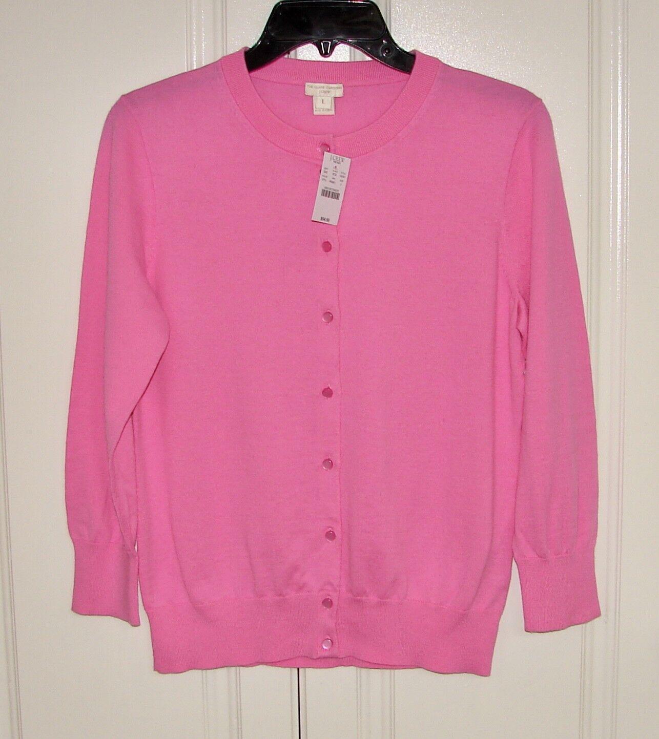 NWT J Crew Factory sz L pink cotton Clare cardigan sweater
