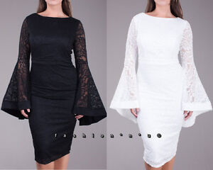 Details about Plus Size Floral Crochet Lace Wide Bell Sleeve Bodycon Dress