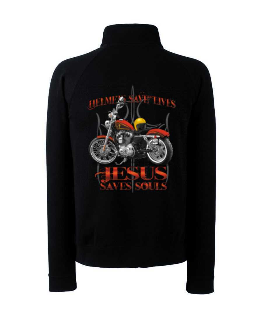 Zip Sweater with Biker Chopper & Old School Motif Model Jesus Saves